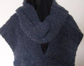 Detachable collar sleeveless sweater anthracite + headband