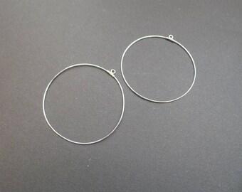 2 metal without nickel Silver 40mm hoop earrings