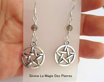 pentacle labradorite earrings