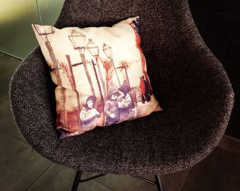 """Cushion with handmade collage. Tittle """"Three little Girls"""""""