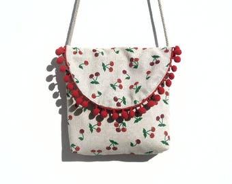 Cherry print fabric shoulder bag.