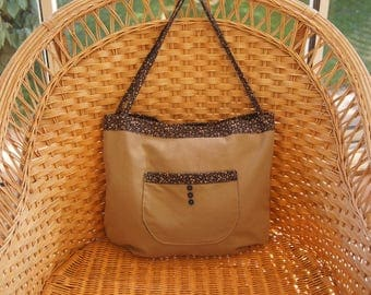 Large canvas bag taupe and rounded pockets with floral fabric