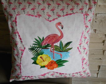 embroidered pink Flamingo