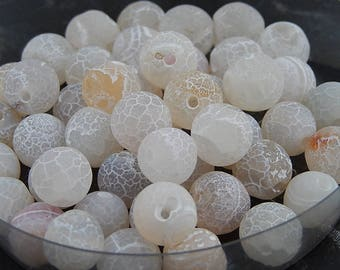 10 frosted Agate beads dyed white, 8mm