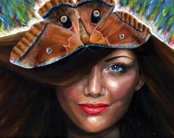 Luna Moth Friend Digital Download Printable Art High Resolution fantasy art realistic surreal