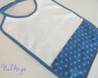 Large molded Star Blue bib / sponge white in STOCK