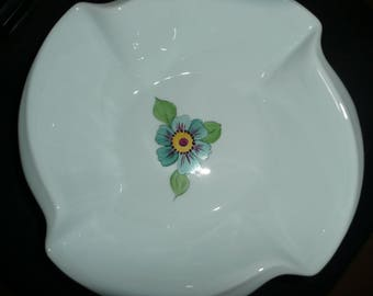 Square and shaped hand painted porcelain bowl: naive flowers and birds