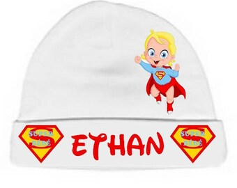 Personalized with name white blonde just Superbaby baby bonnet