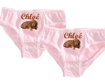 Set of 2 girl panties pink Basset personalized with name