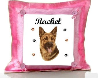Cushion Pink German Shepherd personalized with name
