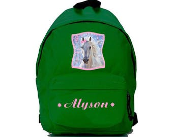 bag has green horse personalized with name