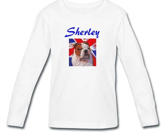 T-shirt sleeves Bouldog English girl personalized with name