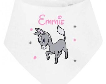 Bib bandana baby donkey personalized with name
