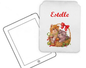 Pocket for Tablet kittens in basket personalized with name