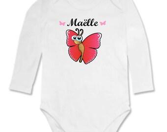 Body bébé Papillon personnalisé avec prénom