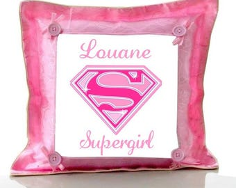 Cushion Pink Supergirl personalized with name