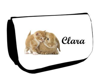 Clutch black makeup /crayons kitten and Bunny personalized with name