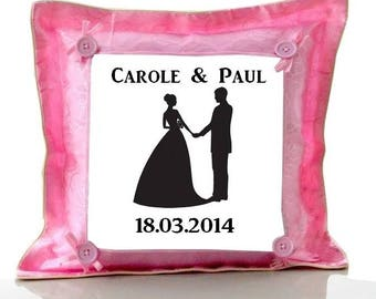 Cushion Pink wedding personalized with name