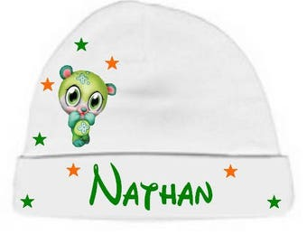 Personalized with name White Green Teddy bear baby Hat