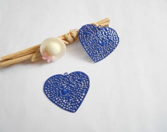 x 2 Navy blue enamel heart charms