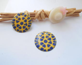 Navy blue enamel sequins 2 x yellow