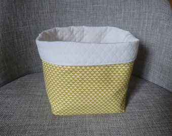storage basket, yellow and white, graphic pattern