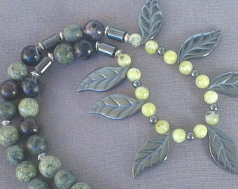 Hematite leaves and gemstones necklace