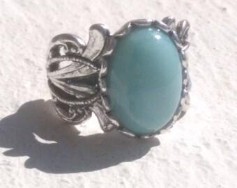 """""""Amazonite"""" - Art nouveau style ring"""
