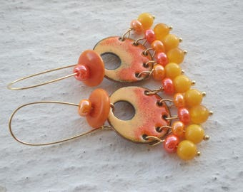 Earrings - Yellow and orange - copper enamel
