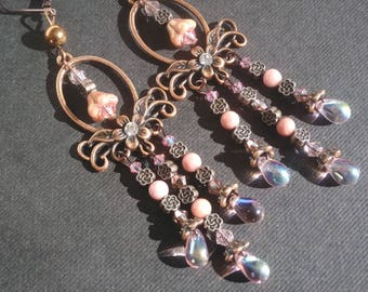 Copper rose earrings