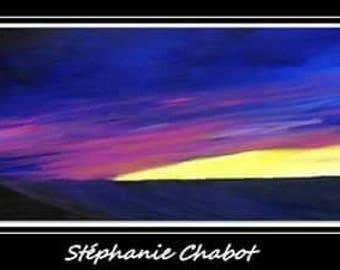 Modern art painting sunset 12x36 blue pink yellow / Art moderne peinture coucher de soleil bleu rose jaune