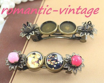 Hair clip holder brass cabochons 12mm and 6 beads / 8mm