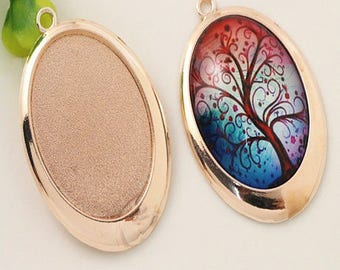 40 * 30mm; 2 support brass rose gold color cabochon 40 * 30mm