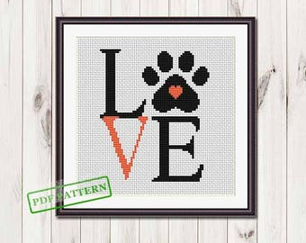 Love paw cross stitch pattern  Easy cross stitch pattern  Beginner  Modern cross stitch Animals xstitch pattern pdf download puppy paw