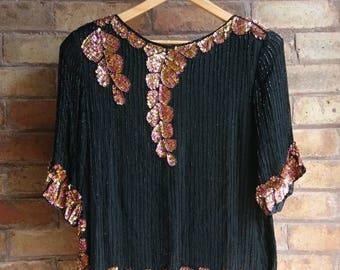 Vintage 80s black & gold sequin top