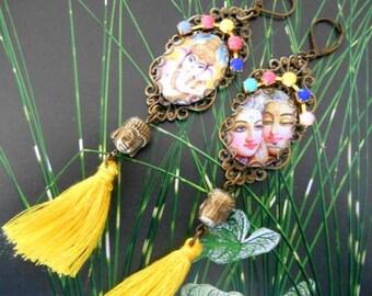 Earrings Bohemian ethnic bronze and yellow Pearl tassel Buddha.