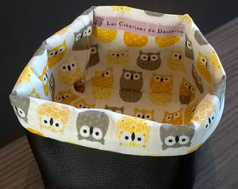 Black faux basket and yellow and grey owls pattern cotton