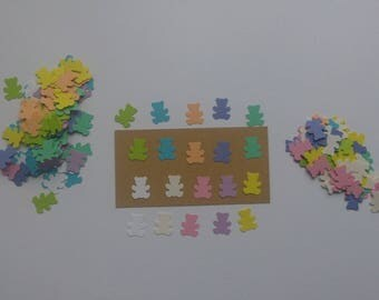 Set of 200 cuts confetti paper bears pastel colors, size 1.5 cm