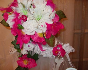 bridal bouquet fuchsia and white
