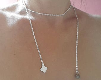 with stone and Pearl Lariat Necklace