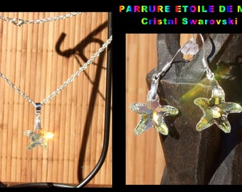 Swarovski Starfish Crystal headdress - Pendant and matching earrings