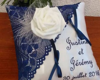 Ring pillow - wedding satin and lace blue tone