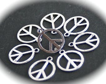 """10 charms """"peace"""" reversible silver plated 23mm in size"""