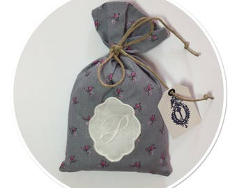 SACHET of lavender from PROVENCE decorated of a Monogram Letter P in Locket