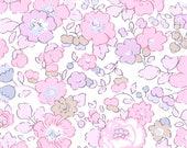 2 paniers de rangement - un petit et un grand - simili blanc - Liberty rose buvard - bord doré