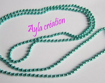 CHN 0104: 1 x chain beads green 70 cm with clasp