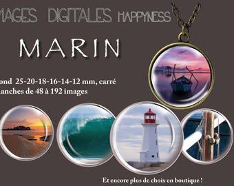 Marine sea digital image round 25 mm, upon request