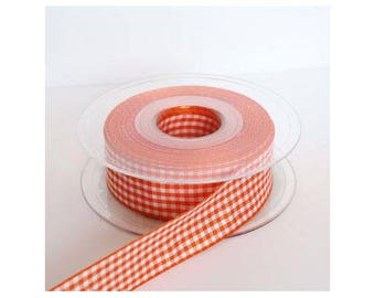 25mm Orange sold by the yard - 001085 gingham Ribbon