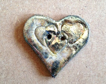 Large button raku pottery-Golden Heart 2 holes - for your creations textiles or other creations