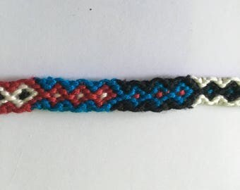 Turquoise, red, black and white Friendship Bracelet